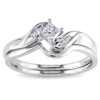 Miadora 14k White Gold 1/4ct TDW Diamond Bridal Set (G-H, I2-I3)