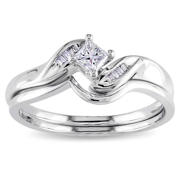 Miadora 14k White Gold 1/4ct TDW Diamond Bridal Set (G-H, I2-I3)