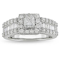 Miadora 14k White Gold 1 3/8ct TDW Princess and Baguette Cut Diamond Ring (G-H, I1-I2)