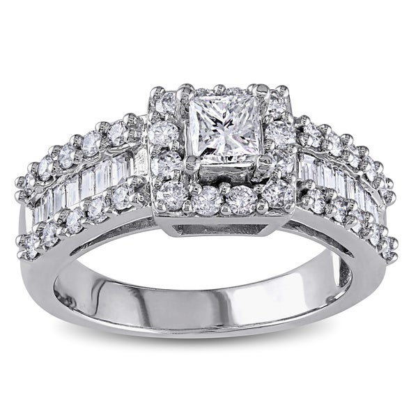 Miadora 14k White Gold 1 3/8ct TDW Princess and Baguette Diamond Ring (G-H, I1-I2)