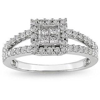Miadora 14k White Gold 5/8ct TDW Diamond Halo Ring (G-H, I2-I3)