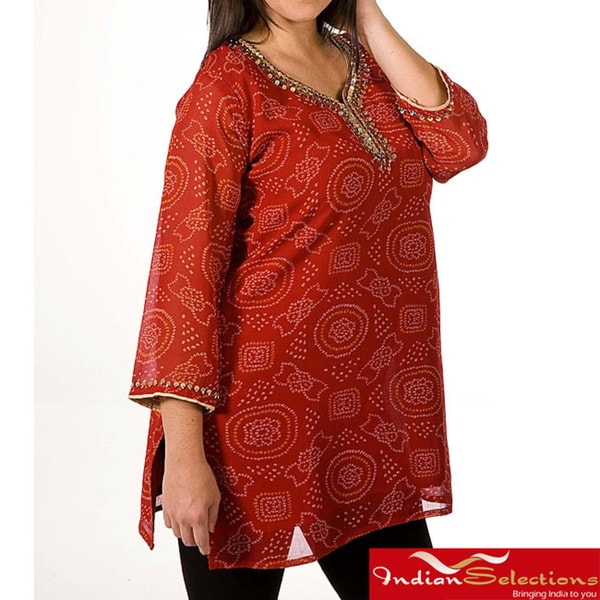 Women's Georgette Printed Beaded Neckline Kurti (India)