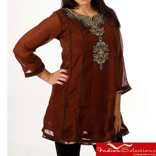 Women's Georgette Brown with Golden Embroidery Kurti/ Tunic (India)