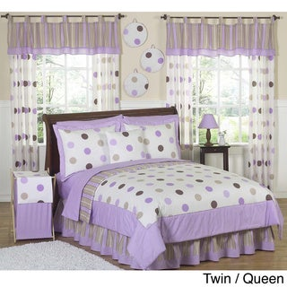 Sweet JoJo Designs Purple and Brown Polka Dot Bedding Set