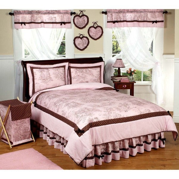 Sweet JoJo Designs Pink/ Brown French Toile and Polka Dot Bedding Set