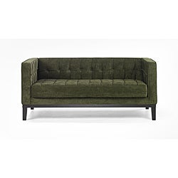 Green Chenille/ Hardwood Loveseat