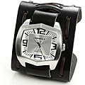 Nemesis Men's Stainless Steel Silver Leather Watch