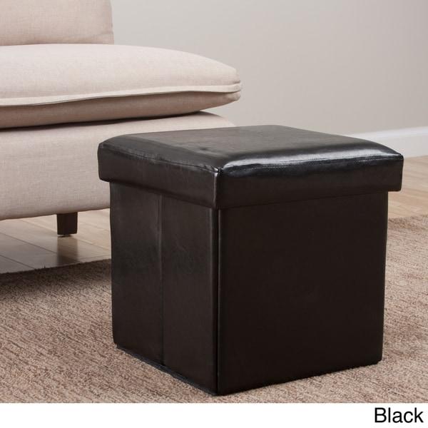Square Folding Faux Leather Storage Ottoman