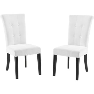 Tufted Off White Fabric Dining Chair (set of 2)