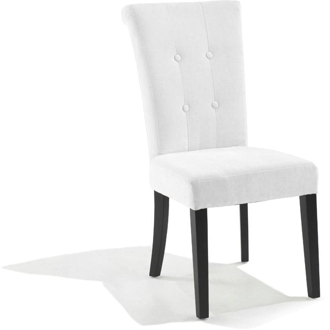 Tufted off white fabric dining chair set of 2 for White fabric dining chairs