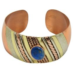 Multi-toned Copper Lapis Layered Cuff Bracelet (Chile)