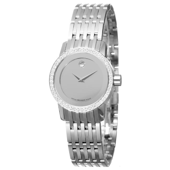 Movado Women's 'Sapphire' Stainless Steel Quartz Diamond Watch