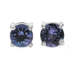 Malaika Sterling Silver Round Tanzanite Stud Earrings
