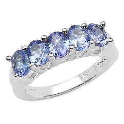 Malaika Sterling Silver Oval-cut Tanzanite 5-stone Ring