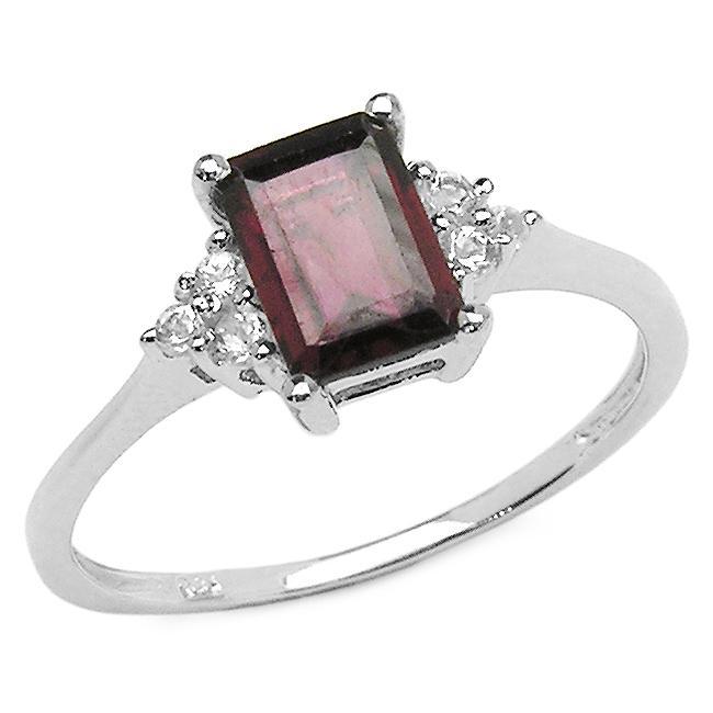Malaika Sterling Silver Garnet and White Topaz Ring