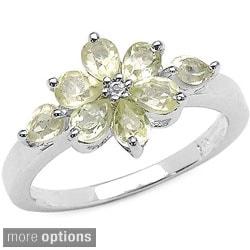 Malaika Sterling Silver Gemstone and White Topaz Ring