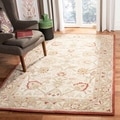 Hand-made Oushak Ivory/ Grey Hand-spun Wool Rug (5&#39; x 8&#39;)