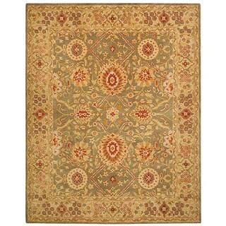 Handmade Mahal Sage/ Ivory Wool Rug (9'6 x 13'6)