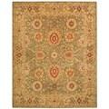 Handmade Mahal Sage/ Ivory Wool Rug (5' x 8')