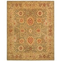 Handmade Mahal Sage/ Ivory Wool Rug (6' x 9')