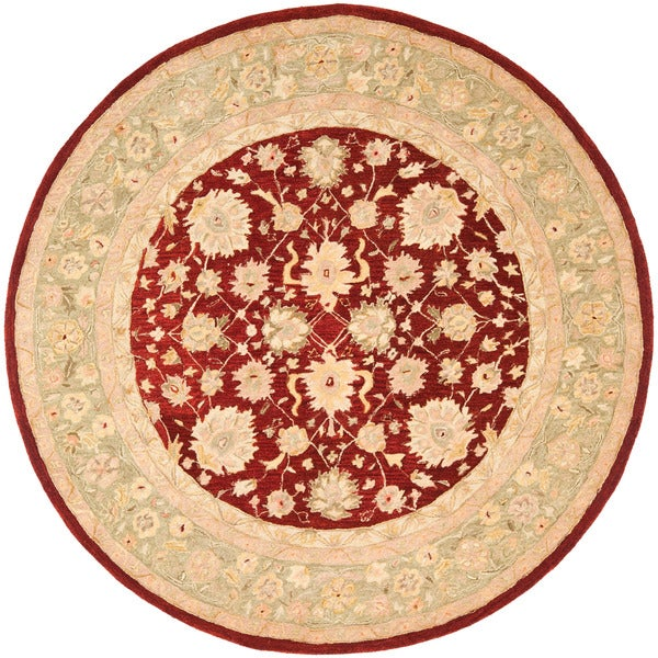 Safavieh Handmade Ancestry Red/ Green Wool Rug (4' Round)