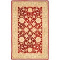 Handmade Ancestry Red/ Green Wool Rug (5' x 8')