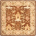 Handmade Oushak Brown/ Ivory Wool Rug (6' Square)