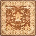 Handmade Oushak Brown/ Ivory Wool Rug (8' Square)
