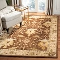 Handmade Oushak Brown/ Ivory Wool Rug (8&#39; Square)