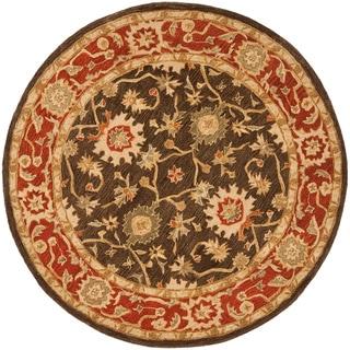 Handmade Kerman Olive/ Rust Wool Rug (4' Round)