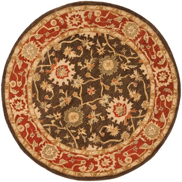Safavieh Handmade Kerman Olive/ Rust Wool Rug (4' Round)