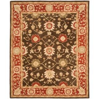 Handmade Kerman Olive/ Rust Wool Rug (9' x 12')