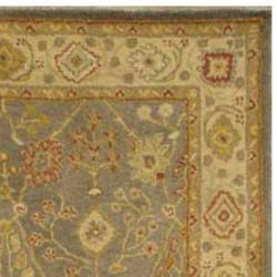 Handmade Oushak Slate Blue/ Ivory Wool Rug (5' x 8')