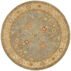 Safavieh Handmade Oushak Slate Blue/ Ivory Wool Rug (6' Round)