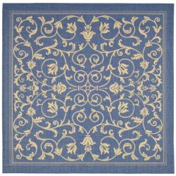 Indoor/ Outdoor Resorts Blue/ Natural Rug (7'10 Square)