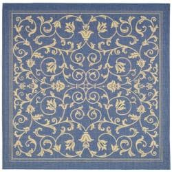 Safavieh Indoor/ Outdoor Resorts Blue/ Natural Rug (7'10 Square)