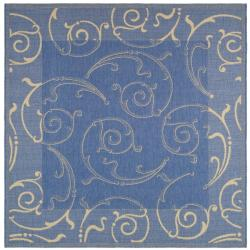 Safavieh Indoor/ Outdoor Oasis Blue/ Natural Rug (7'10 Square)