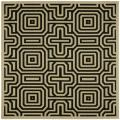 Indoor/ Outdoor Matrix Sand/ Black Rug (6' 7 Square)