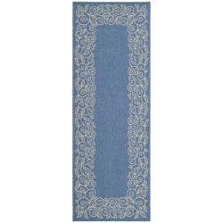 Indoor/ Outdoor Blue/ Ivory Runner (2'4 x 6'7)