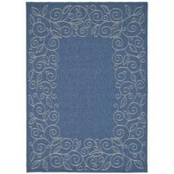 "Indoor/Outdoor Blue/Ivory Bordered Rug (5'3"" x 7'7"")"