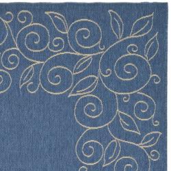 "Safavieh Indoor/Outdoor Blue/Ivory Bordered Rug (5'3"" x 7'7"")"