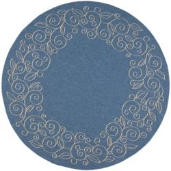 Indoor/ Outdoor Blue/ Ivory Rug (6'7 Round)