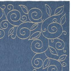 "Safavieh Border Pattern Blue/Ivory Indoor/Outdoor Rug (7'10"" x 11')"
