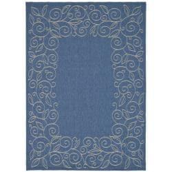 Border Pattern Blue/Ivory Indoor/Outdoor Rug (7'10