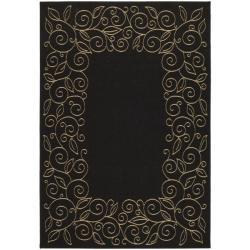 Indoor/ Outdoor Black/ Sand Rug (5'3 x 7'7)