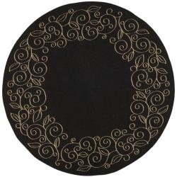Indoor/ Outdoor Black/ Sand Rug (6'7 Round)