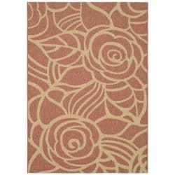 Safavieh Rust/Sand Stain-Resistant Indoor/Outdoor Rug (6'7