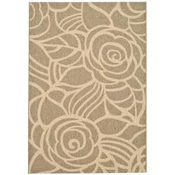 "Indoor/Outdoor Coffee/Sand Bordered Rug (5'3"" x 7'7"")"