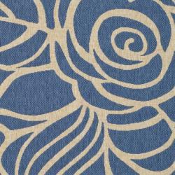 Safavieh Floral Indoor/Outdoor Blue/Ivory Rug (4' x 5'7
