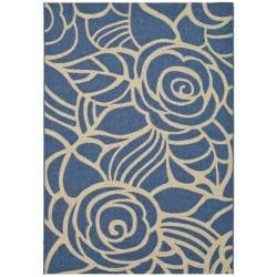 "Floral Pattern Blue/Ivory Indoor/Outdoor Rug (7'10"" x 11')"